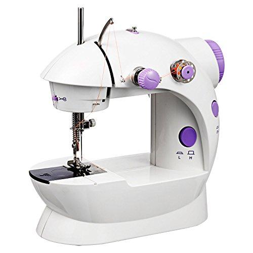 Meditool Machine à Coudre Portable avec Éclairage LED, Mini Machine à Coudre Électrique à Vitesse Double, Blanc
