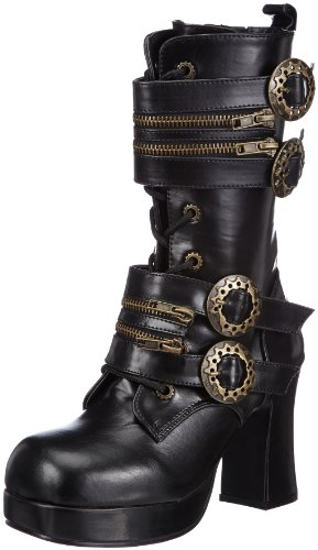 Damen Stiefel, Schwarz (Blk Vegan Leather), EU 38 (UK 5) (US 8) (Gothika-stiefel)