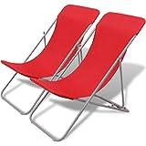 Festnight 2er-Set Klappbarer Strandstuhl Liegestühle Camping Klappstuhl Strandsessel 83 x 56 x 90 cm Rot