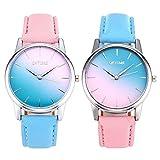 JSDDE Uhren Fashion Damen Armbanduhr Cute Candy Farbe Blau-Pink Farbverlauf Lederband Kleideruhr Analoge Quarzuhr für Frauen Mädchen (2 Stück Set)