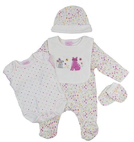 Bebe Bonito Baby Schlafanzug Weste Latz Handschuhe Wiege Mütze Layette fünf Stück Set Jungen Mädchen Unisex - Cremefarben Blumen Katalysator und Mouse, Neugeboren