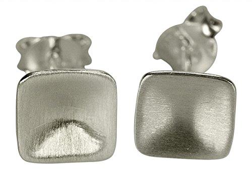 Orecchini da donna SILBERMOOS rettangolo piccolo argento Sterling 925 opaco