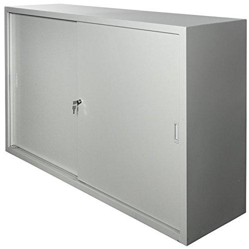 JOKER 3-OH Schiebetürenschrank aus Metall, b160xt45xh109cm LICHTGRAU [SLC.1016]