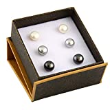 Boxed Set 3 pairs 8mm Genuine Freshwater Cultured Pearl Stud Earrings in 925 Sterling Silver
