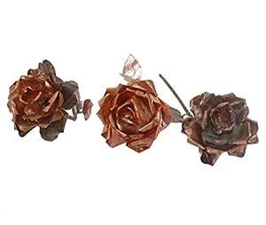 Genio Italiano, lavorazione artistica del rame - Set 3 rose in rame con base in legno