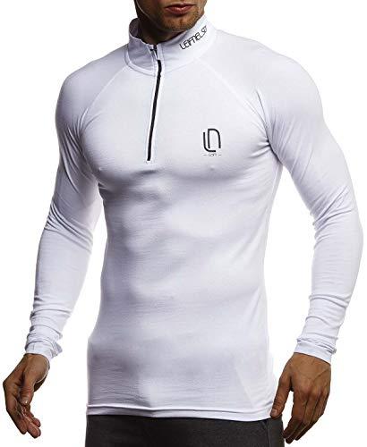 Leif Nelson Gym Jungen Fitness Shirt Trainingsshirt Slim Fit | Moderner Männer Bodybuilder Sportshirt Langarm | Jungen Sport T-Shirt Bekleidung für Bodybuilding Training | LN8282 Weiß-Schwarz Medium