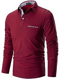 STTLZMC Poloshirt Herren Langarm Basic T-Shirt Freizeit Plaid spleißen Polohemd