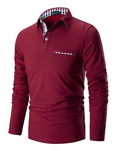STTLZMC Casual Polo Hombre Mangas Largas Camisetas Deporte Algodón Clásico Plaid Cuello,Rojo,x-Large