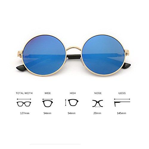 Highdas Summer style lunettes de soleil vintage ronde femme Lunettes Gold/Blue Ice