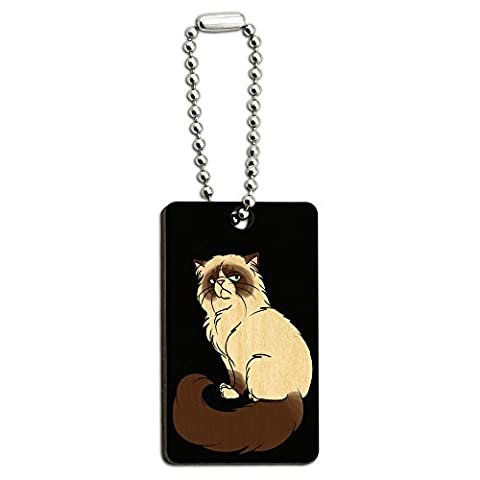 Persian Cat Himalayan Color Points on Black - Pet Wood Wooden Rectangle Key Chain