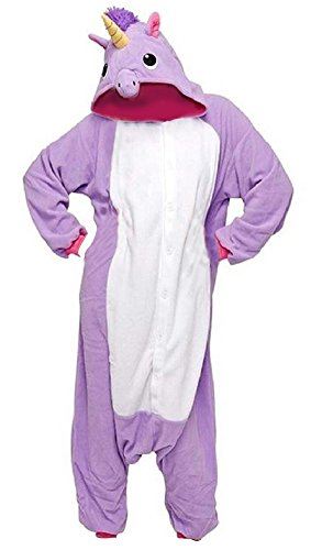 Anbelarui Einhorn Pyjama Tieroutfit Tierkostüme Schlafanzug Tier Sleepsuit mit Kapuze Erwachsene Unisex Jumpsuits Overall Damen Herren Pyjama Fleece ( Lila (Kostüme Halloween Fleece Kapuzen)