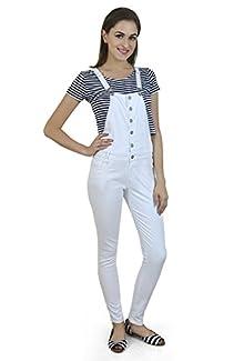e86f2e4438f Xpose Women s Denim Jumpsuit (2086DUNGAREES26 White 26) Image