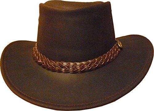Jacaru Aussie Hats Wallaroo Oil australischer Hut Rindleder Cowhide braun M/L (Aussie-hut)