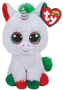 Ty Beanie Boos Candy Cane-Unicornio 23cm-Navidad, Color Blanco (36425TY)