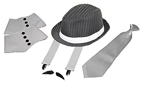 Foxxeo 35021 | Deluxe Gangster Set | Hosenträger - Krawatte