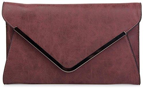 styleBREAKER Envelope Clutch, Abendtasche im Kuvert Design mit Schulterriehmen und Trageschlaufe, Damen 02012047, Farbe:Bordeaux-Rot