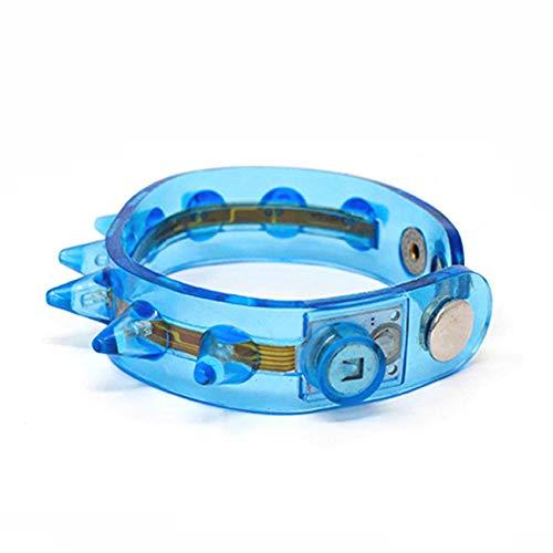 UltraByEasyPeasyStore Blau LED Armbändern Spike Leuchtendes Damen Herren Erwachsene Kinder Junge Mädchen Festival Party Aufhellen Beleuchten Glühend Tänze Armreif Blinkt (Tanz-armreif)