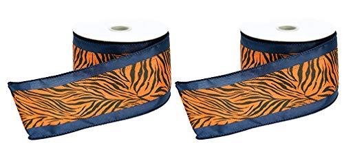 Tiger Stripes Satinband mit Draht, Marineblau/Orange, 6,3 cm x 10 m, 2 Rollen