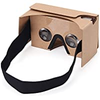 Google Cardboard V2 Immersive 3D Auriculares de realidad virtual Big Lens 3D VR Gafas de cartón con alargado Head Strap Nariz Pad adecuado para 3.5-6 pulgadas Android y IOS Smartphones