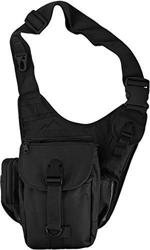 Schulter-Umhängetasche mit vielen Fächern und Karabiner, in Schwarz Farbe Schwarz (Farbe Schulter)