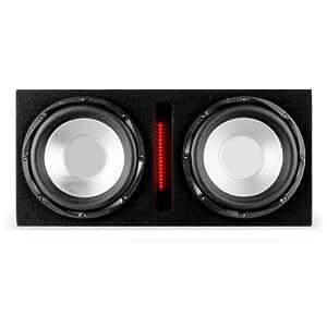 Auna Basswaver x10l Subwoofer Auto actif 2x 25cm Amplificateur (2100W Max, entrée MP3, rétroéclairage LED, entrée rCA jack)