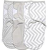 Baby Pucksack Wickel-Decke 220GSM / 1.0 TOG - 3er Pack Universal Verstellbare Schlafsack Decke für Säuglinge Babys Neugeborene 0-3 Monate Grau