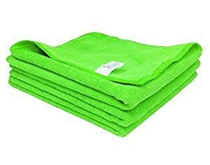 SOBBY Microfiber Cloth for Car Cleaning Bike Cleaning Vehicle Washing cloths- 40cm x 40cm-Pack of 3 (Green)