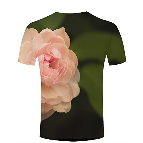 Mens 3D Printed T-Shirts Beautiful Pink Roses and Green Leaves Graphics Couple Tees B