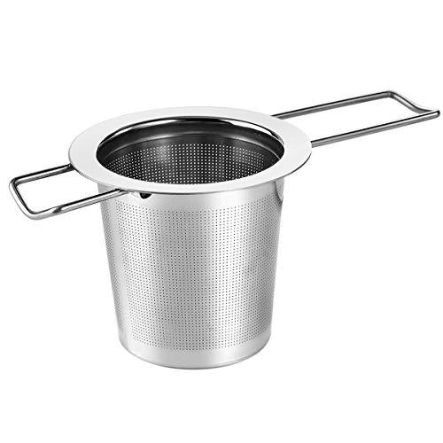 Dokpav Teesieb Teefilter für losen Tee Edelstahl Tee-Sieb für Teekanne/Kanne/Töpfe/Tasse Fein Premium Sieb mit Lang Faltbare Griffgestaltung