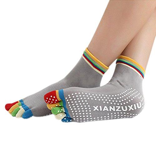 Hrph Femmes 5 Toes Anti-Dérapante Chaussettes de Sport Multi-Colorés Coton pour Exercice/Fitness/Yoga