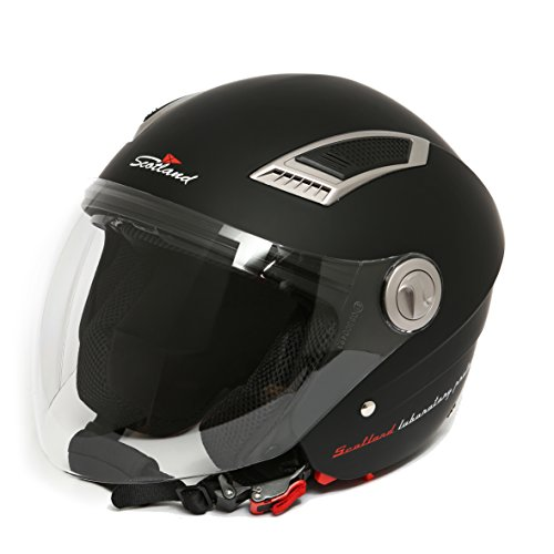 Scotland - 120009 Casco Jet para moto con doble visera, color negro mate, talla 57-58 (M)