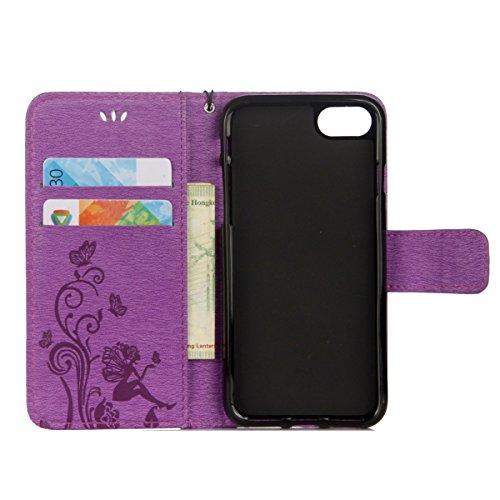 Custodia per iPhone 6 Plus/iPhone 6s Plus (5.5), EUWLY Book Style PU Leather Custodia Case Cover Per iPhone 6 Plus/iPhone 6s Plus (5.5) Portafoglio Custodia Goffratura Ragazza di Farfalla Shell Cove Viola