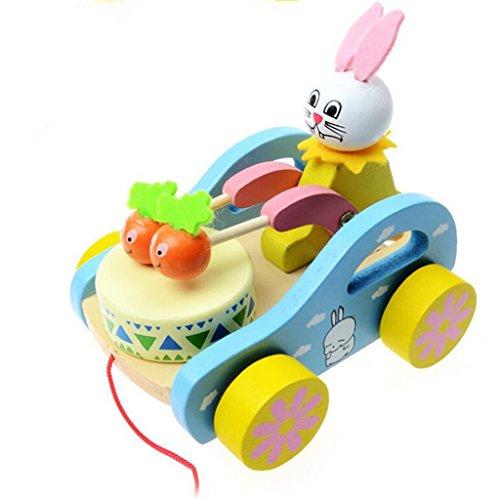 Edealing (TM) hölzernes reizendes Karikatur-Kaninchen-Schlag-Schlagzeug-Spielzeug für Kinder Kinder haben (2 Ding Kleinkind Und Ding 1 Kostüme)