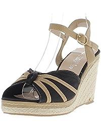 Alpargatas cuña camel mujer y negro zapatos de tacón lienzo cm 9