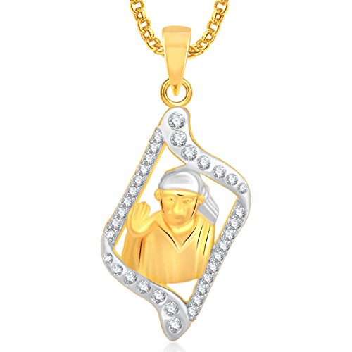 Meenaz Sai Baba Religious God Pendant Gold Plated Cz In American Diamond With Chain For Man & Women,Girls GP292