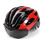 CCMUP Trendy cooler winddichter, warmer tragbarer sicherer Mountainbike-Reithelm, eine Brille, Rennradhelm - rot, schwarz, L
