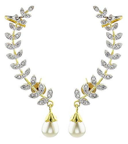Bandish Gold toned Leaf Design Pearl Ear cuff Earrings for Women  available at amazon for Rs.299