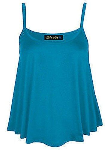 Generic - Débardeur - Sans Manche - Femme Multicolore Bigarré Taille Unique Bleu-vert