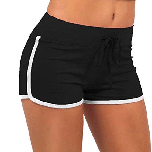 Ai.Moichien Süßigkeit Farben Frauen Sport Kordelzug Shorts Sommer Hosen Fitness Workout Yoga Kurze S-2xl Schwarz S