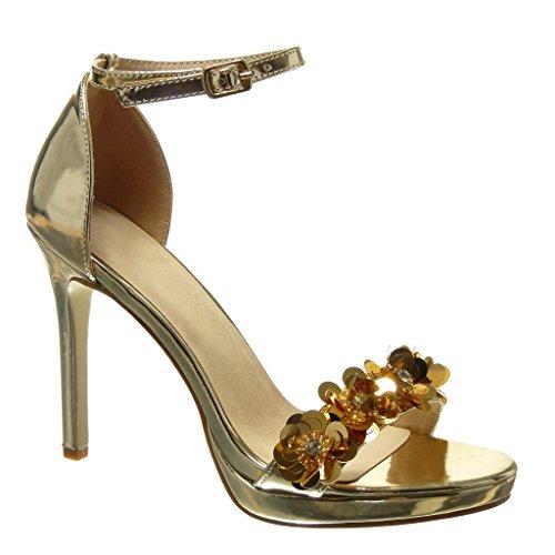 Angkorly - Damen Schuhe Sandalen Pumpe - Stiletto - Sexy - schick - Blumen - Strass - String Tanga Stiletto high Heel 10.5 cm - Gold 238-2 T 39 Sexy Strass Heels