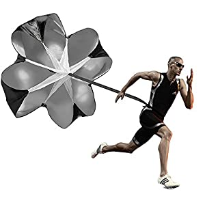 SKL Trainingsprodukt Speed Chute, 56″ Speed Training Resistance Fallschirm Umbrella Running Chute & Fitness Explosive Power Training (Schwarz)