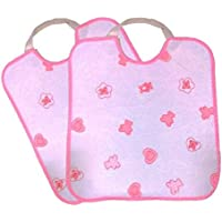 2 Baberos grandes, con GOMA, IMPERMEABLE, ideal GUARDERIAS color blanco/rosa