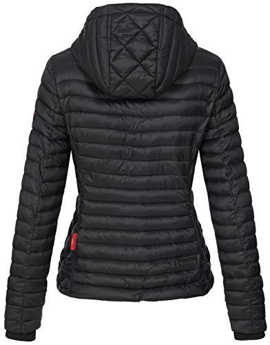 Marikoo Damen Jacke Steppjacke Übergangsjacke mit Kapuze gesteppt B600 [B600-Samt-Schwarz-Gr.XS] - 4