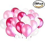 BUWANT Perle Latex Luftballons für Party Luftballons Spielzeug für Kinder 100 Stück (weiß Rosa Licht Rosa Rot)