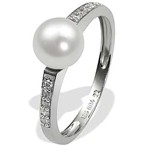 Goldmaid Women's 9 Carat White Gold Ring 1 Freshwater Pearl 10 Diamonds 0.04 Carat