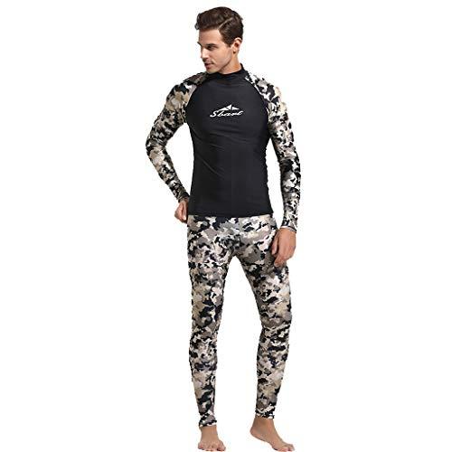 EUCoo_ Wetsuit Eucoo Marke Tauchanzug Herren Badebekleidung Camouflage Uv Langarm Surf Surfanzug 3 Mm(Tarnen, XXL)