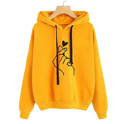 Ihengh felpa con cappuccio a manica lunga da donna felpa con cappuccio pullover maniche lunghe moda per ragazza autunno inverno(giallo,large)