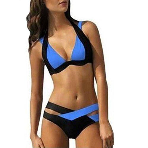 Bovake Badeanzug-reizvolle Badebekleidungs-Frauen-Schwimmen-Strand-Abnutzungs-Druck-Verband-Badeanzug Blue
