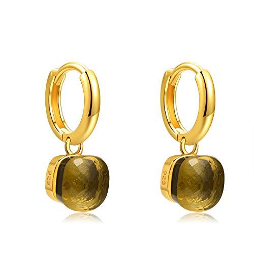 Metjakt, classici orecchini pendenti in argento sterling 925 massiccio, orecchini per donne, gioielli raffinati (Yellow, Argento Sterling placcato oro giallo)