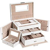 SONGMICS Jewellery Box Organizer with Small Travel Jewellery Case Mirror Drawer for Earrings Bracelets Rings Lockable